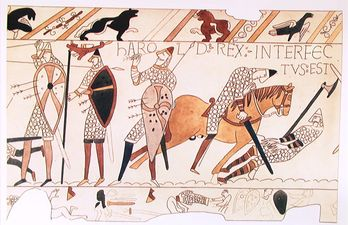 bayeux tapestry letter King harold was inspired by the embroidered lettering on the famous bayeux tapestry the tapestry was made c1073-83 and records king harold's  letter .